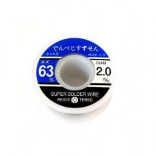 Припій для пайки ПОС 63, 2.0 мм з флюсом, котушка 70г
