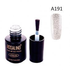 Гель-лак для нігтів манікюру 7мл Rosalind, прозорий, А191 блискітки пісок