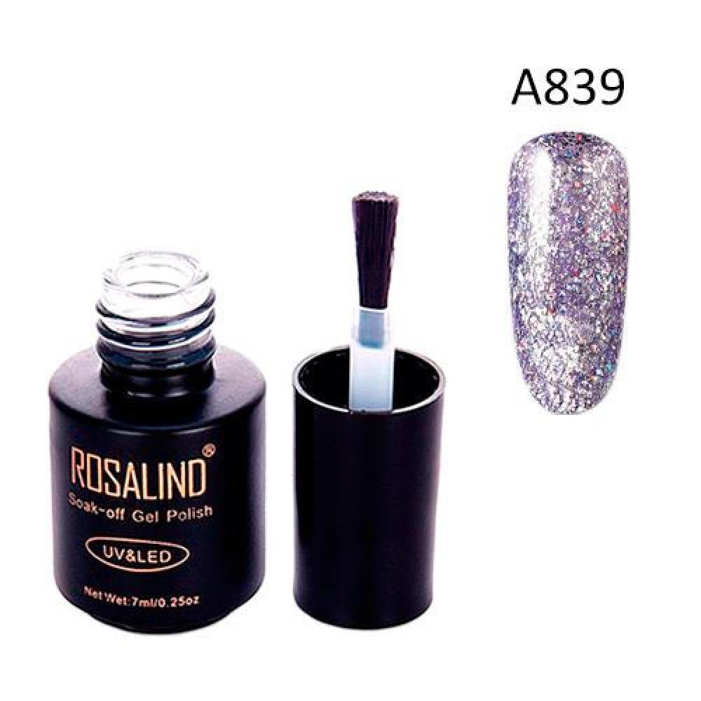 Гель-лак для нігтів манікюру 7мл Rosalind, гліттер, а839 лаванда