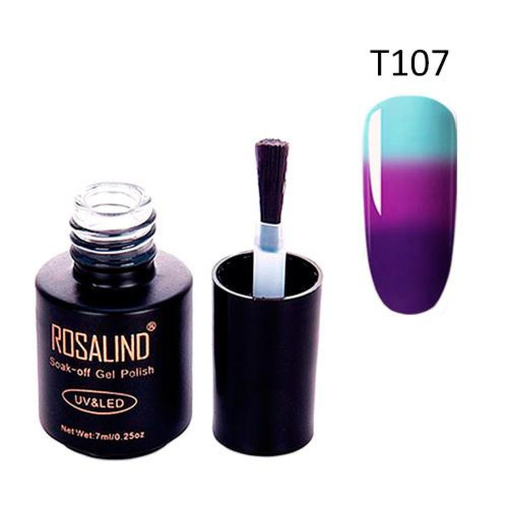 Гель-лак для нігтів манікюру 7мл Rosalind, термо, Т107 пурпурний, лазурний
