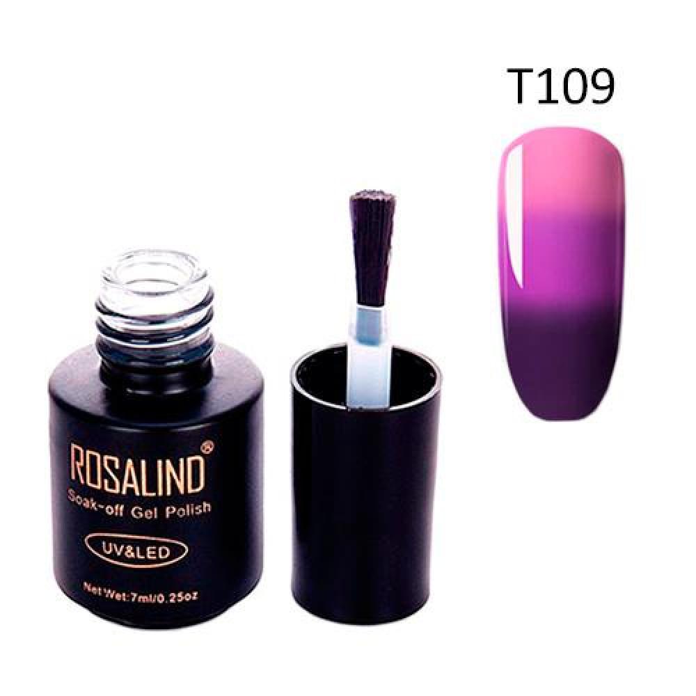 Гель-лак для нігтів манікюру 7мл Rosalind, термо, Т109 баклажан фіалка