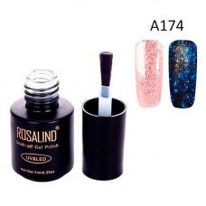Гель-лак для нігтів манікюру 7мл Rosalind, гліттер світиться, А174 сакура