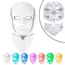 LED маска для фотодинамічної і мікрострумової терапії для обличчя та шиї 7цв
