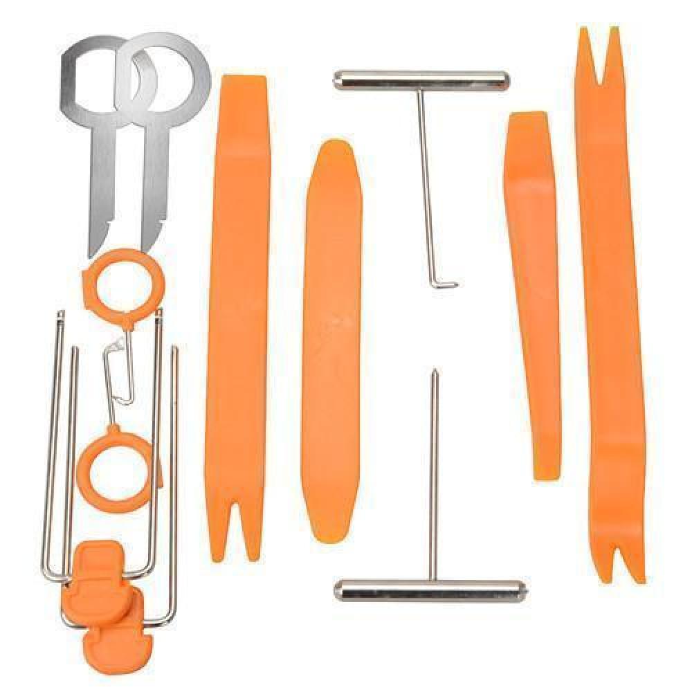 Набір для демонтажу елементів салону, знімачі пістонів, обшивки салону, панелей, магнітол в авто, набір 12 шт.