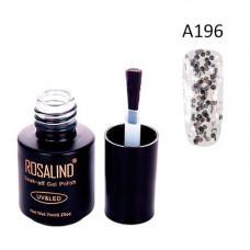 Гель-лак для нігтів манікюру 7мл Rosalind, прозорий, А196 блискітки великі