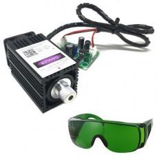 Потужний лазер для різання гравіювання 500мВт 405нм TTL + захисні окуляри
