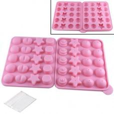 Форма силиконовая двойная для кейк-попсов, льда, конфет