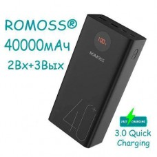 Power Bank Зовнішній акумулятор 40000мАч QC3.0 ЖК 18Вт Romoss Zeus Premium