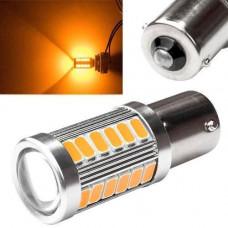 LED 1156 BA15S P21W лампа в автомобіль, 33 SMD 5630, жовта