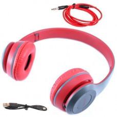 Навушники безпровідні Bluetooth гарнітура P47 MicroSD, червоні