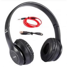 Навушники безпровідні Bluetooth гарнітура P47 MicroSD, чорні