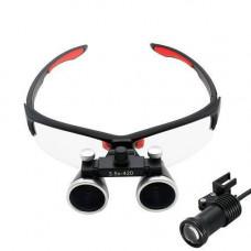 Бінокулярні збільшувальні окуляри лупа 3.5 х 420мм з підсвіткою і АКБ 1800мАч