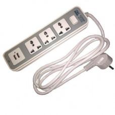 Мережевий фільтр-подовжувач 1.8 м, 3 розетки + 2 USB 10А 2500Вт, GK-8194