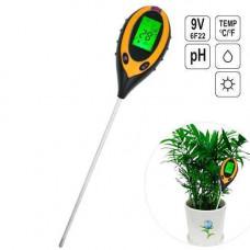 Аналізатор грунту 4в1 вимірювач солі, pH, температури, освітлення AMT-300