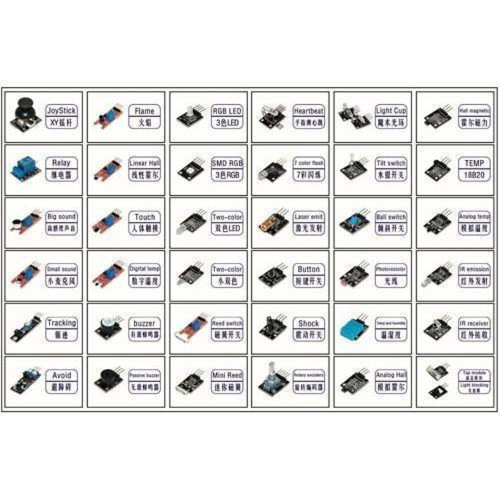 Набір з 37 модулів, датчиків В КЕЙСІ для Arduino Raspberry Pi
