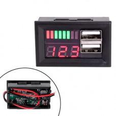 Вольтметр автомобільний, індикатор заряду акумулятора + вольтметр 12В + 2xUSB автомобільний