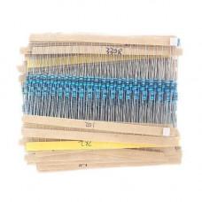 600x Резистор 1/4Вт MF 1% 10Ом-1МОм, набір