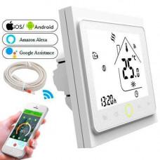 Терморегулятор Wi-Fi для ел теплої підлоги 220В 16А BHT-002-GBLW, білий