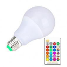 Світлодіодна E27 LED RGB 10Вт лампа, 16 кольорів з пультом ДУ