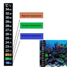 Термометр наклейка для акваріума 18-34C 13см, акваріумний градусник