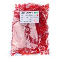 1000x LED світлодіод 3мм 1.8-2В 20мА, червоний