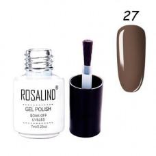 Гель-лак для нігтів манікюру 7мл Розалінда, шелак, 27 горіхово-коричневий