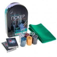 Набір для покеру: карти, 120 фішок, сукно в метал коробці, покерний