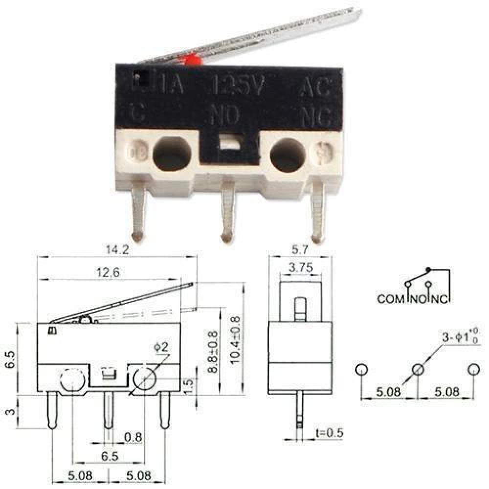 Кінцевий вимикач перемикач мікро з прапорцем KW-1 2А
