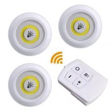 3x LED світильник нічник автономний, з пультом ДУ, білий