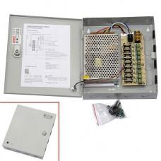 Блок живлення в металічному ящику для камер CCTV, 9-кан 12В 10А 120Вт