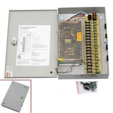 Блок живлення в металевому ящику для камер CCTV, 18-кан 12В 20А 240Вт