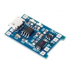 Модуль зарядки литиевых Li-ion батарей от MicroUSB + защита DW01