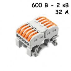 10x Клема клемник прохідний пружинний 5 пар 600В-2кВ 32А, PCT-2215
