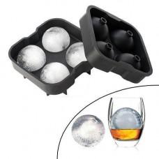 Форма силіконова для льоду Кульки 4.5 см подвійна Ice Ball для віскі 4 клітинки