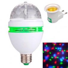 Диско лампа обертальна світлодіодна, E27 LED RGB 3Вт + мережевий адаптер