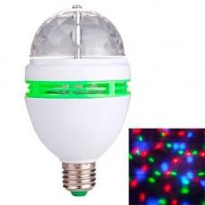 Диско лампа обертальна світлодіодна, E27 LED RGB 3Вт