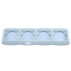 Рамка четвірна для розеток, горизонтальна, біла Desant D-324