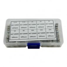 100x Запобіжник скляний М5х20мм, 0.5-30А, набір