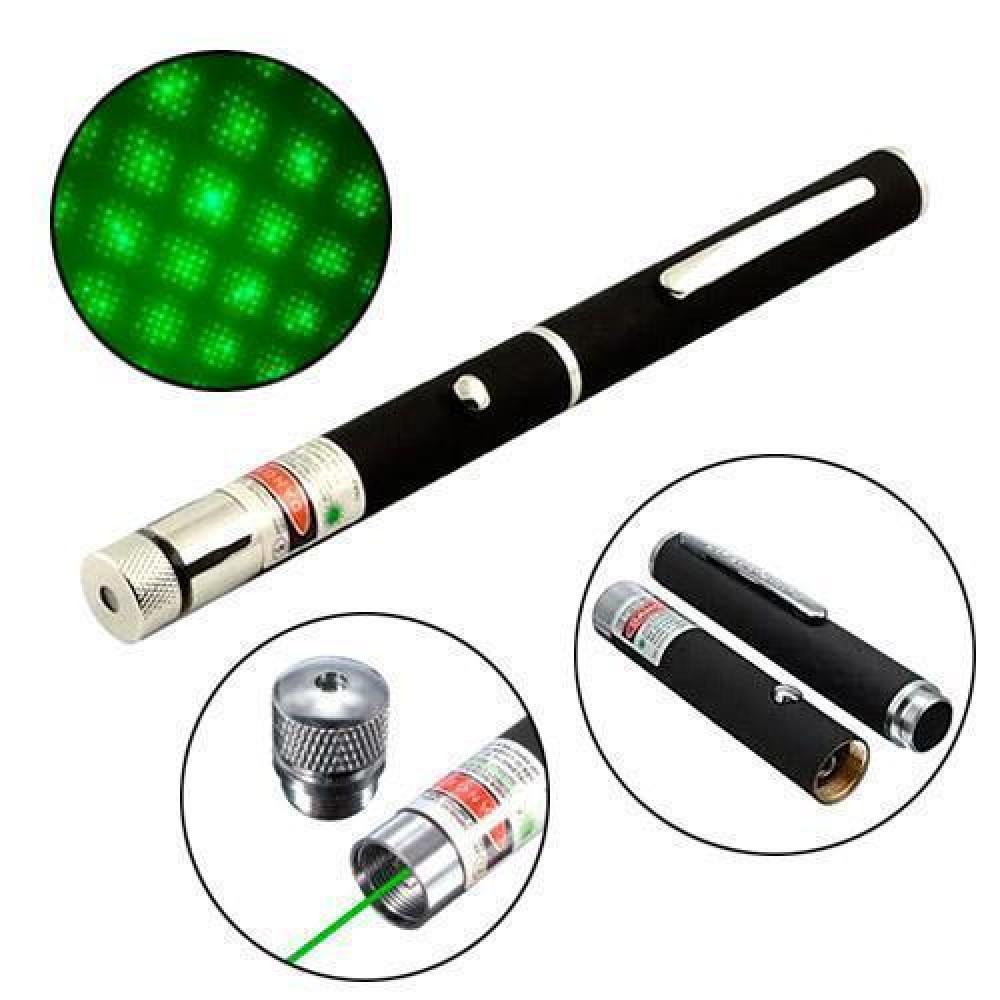 Зелений Лазер 5мВт 532нМ, лазерна указка на батарейках + насадка