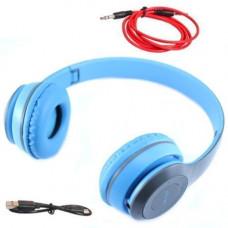 Навушники безпровідні Bluetooth гарнітура P47 MicroSD, блакитні
