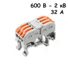 10x Клема клемник прохідний пружинний 3 пари 600В-2кВ 32А, PCT-2213