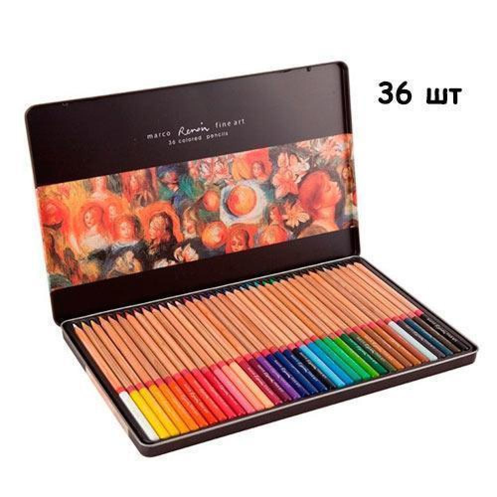 Набір різнокольорових олівців 36 шт, металевий кейс Marco Renoir
