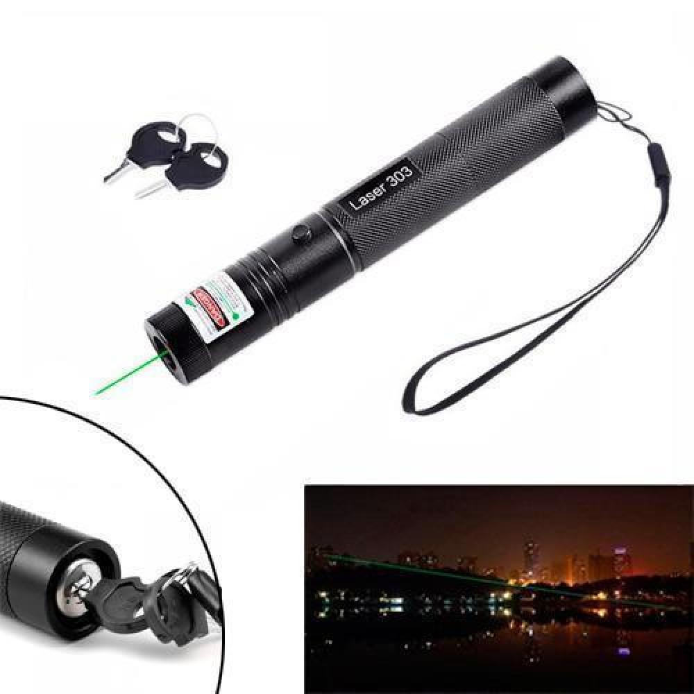 Зелений Лазер 100мВт 532нМ, лазерна указка Laser 303 з блокуванням + насадка