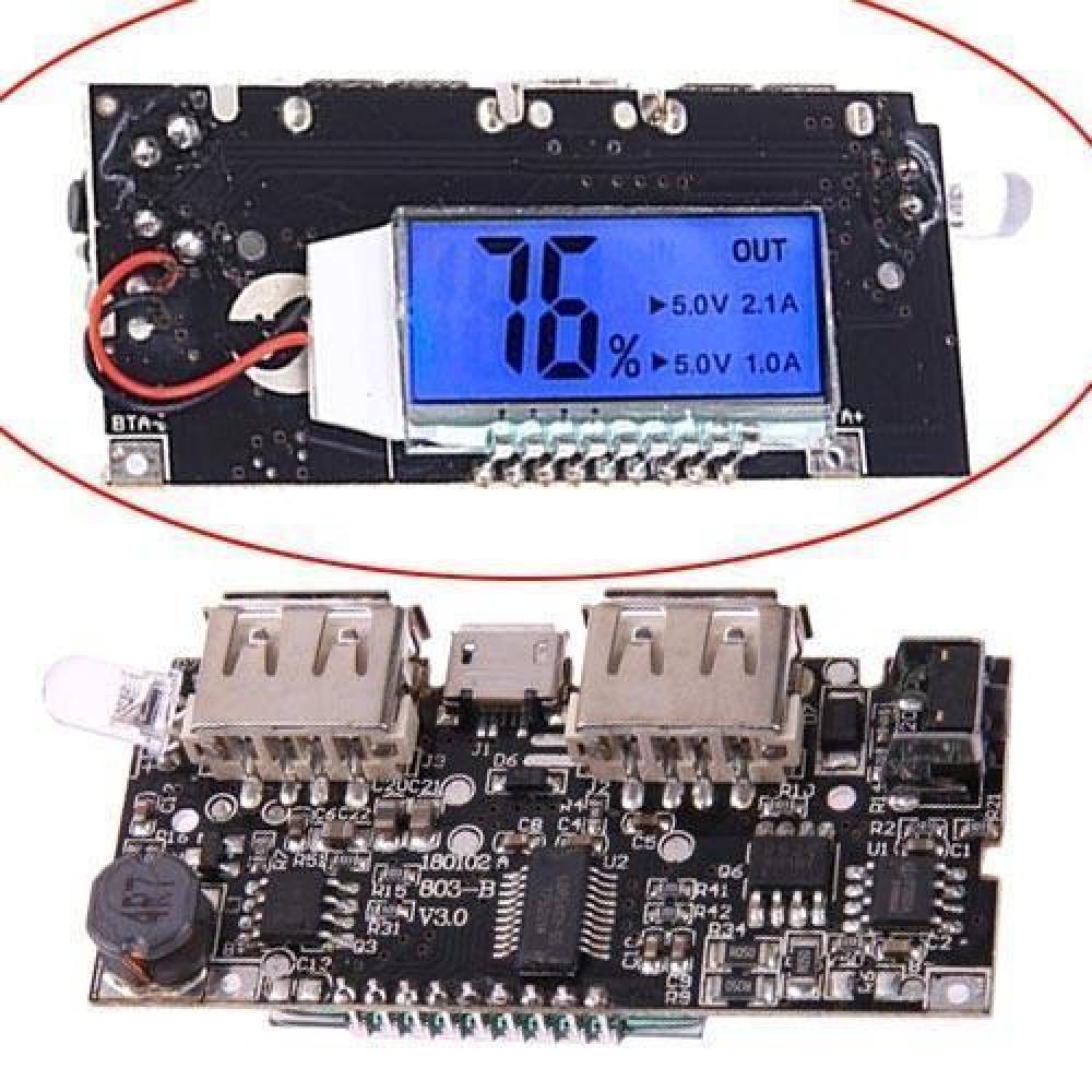 Контролер зарядки Li-ion батарей 18650 для Power Bank, РК-дисплей 2xUSB