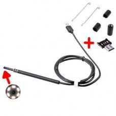 USB / microUSB камера ендоскоп медичний ЛОР отоскоп 1.35 м