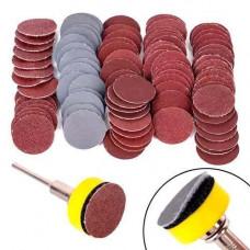 Набор из шлифовального диска и 100 кругов 25мм на липучке для гравера дремеля