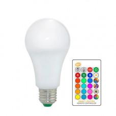 Світлодіодна E27 LED RGB 5Вт лампа, 16 кольорів з пультом ДУ