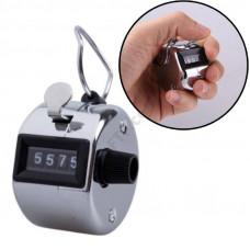 Лічильник механічний на палець, ручний 4-розрядний лічильник, клікер натискання цифр, для інвентаризації, 0000-9999, металевий, 4 цифри
