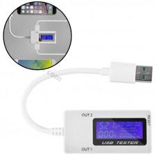 USB тестер струму, напруги, потужності 4-30В 0-5А 2xUSB з таймером