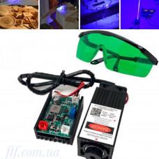 Потужний лазер для різання гравіювання 5.5 Вт 445нм TTL + захисні окуляри